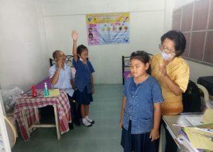 ตรวจสุขภาพ ของนักเรียนระดับชั้นประถมศึกษาปีที่๑ -๔ ณ โรงเรียนบ้านโป่งกระทิงล่าง